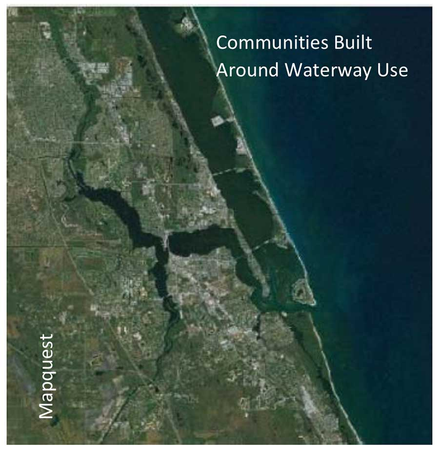 Communities built around waterway use